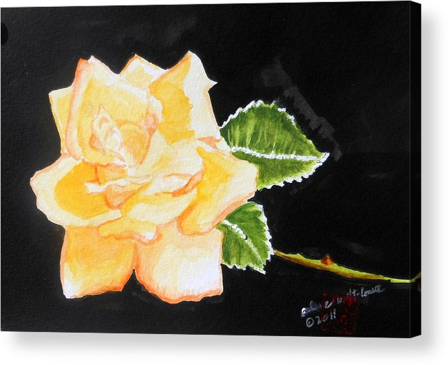 Roses Acrylic Print featuring the painting My Yellow Rose by Arlene Wright-Correll