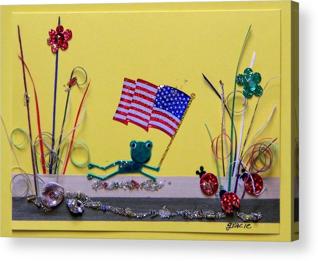 4th July Acrylic Print featuring the mixed media Patriot Frog by Gracies Creations