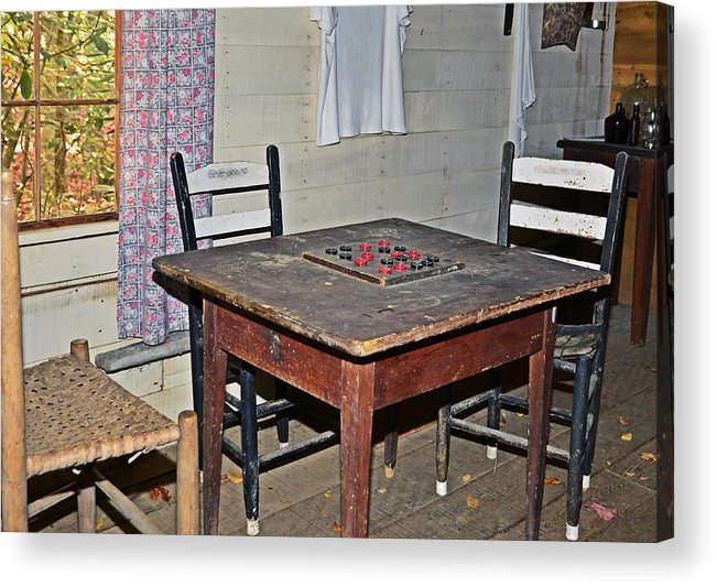 Checkers Acrylic Print featuring the photograph Playing Checkers by Susan Leggett