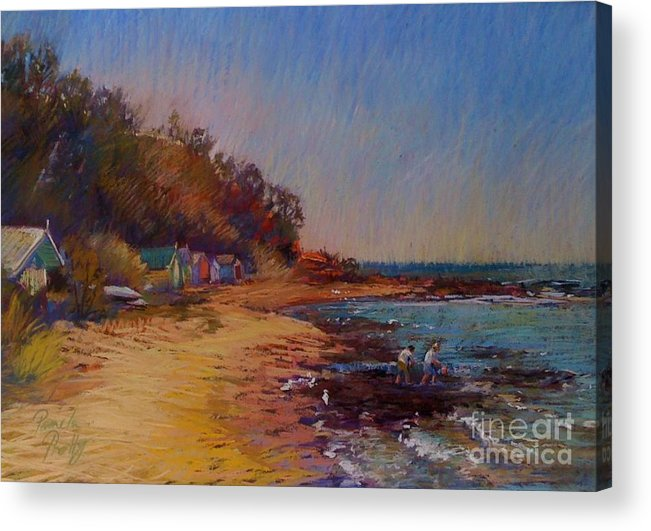 Beach Acrylic Print featuring the painting The Fossickers-ranelagh by Pamela Pretty