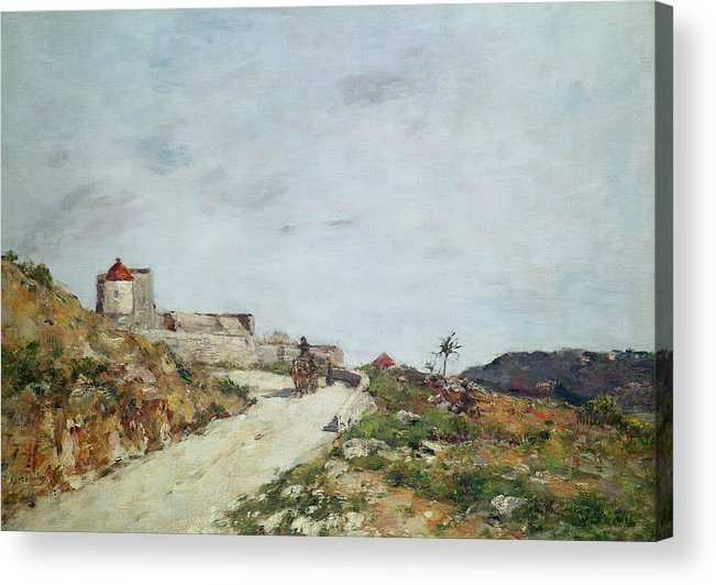The Acrylic Print featuring the painting The Road To The Citadel At Villefranche by Eugene Louis Boudin