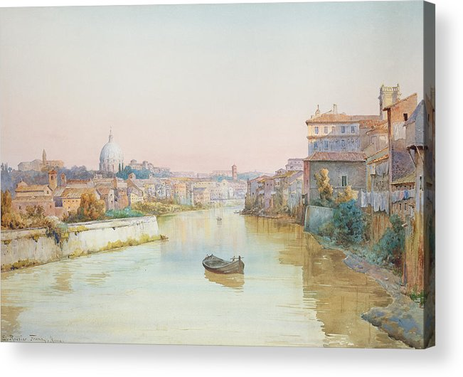River; Tiber; Cityscape Acrylic Print featuring the painting View Of The Tevere From The Ponte Sisto by Ettore Roesler Franz