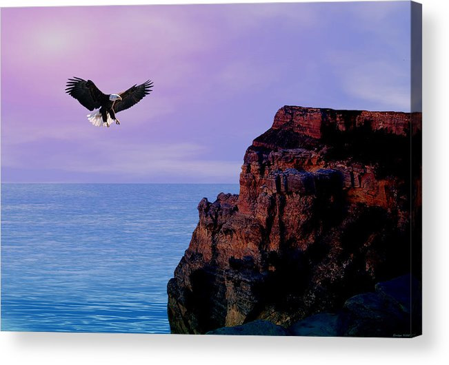 Eagle Acrylic Print featuring the digital art I'm Free To Fly by Evelyn Patrick