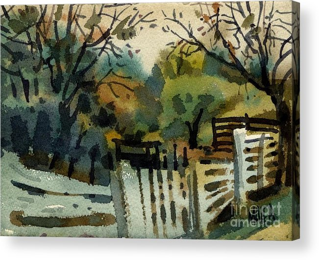 White Fence Acrylic Print featuring the painting White Fence by Donald Maier