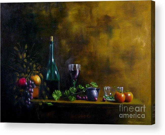 Still Life. Oil On Canvas. Still Life On Canvas Acrylic Print featuring the painting Still Life by Tony Calleja