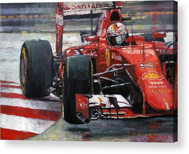 Acrilic Acrylic Print featuring the painting 2015 Hungary Gp Ferrari Sf15t Vettel Winner by Yuriy Shevchuk