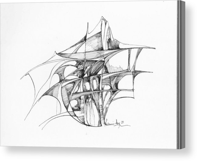 Abstract Acrylic Print featuring the drawing Abstract 1 by Padamvir Singh