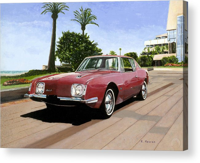 Cannes Acrylic Print featuring the painting An American In Cannes by Richard Herron