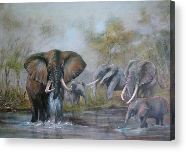 Wildlife Acrylic Print featuring the painting At The Waterhole by Rita Palm