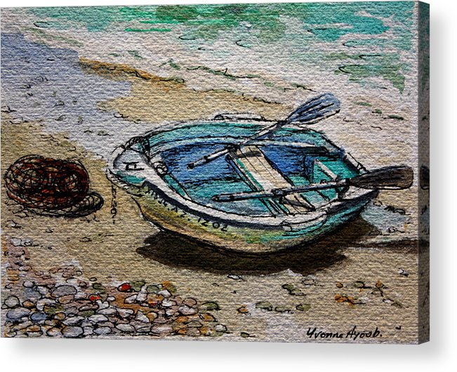 Boat Acrylic Print featuring the painting Beached by Yvonne Ayoub
