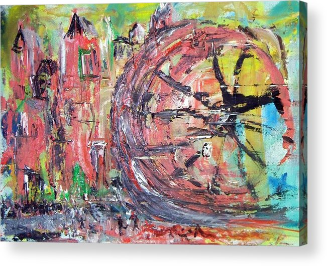 Abstract Cityscape Acrylic Print featuring the painting Big City Wheel Vs Little People by Lynda McDonald