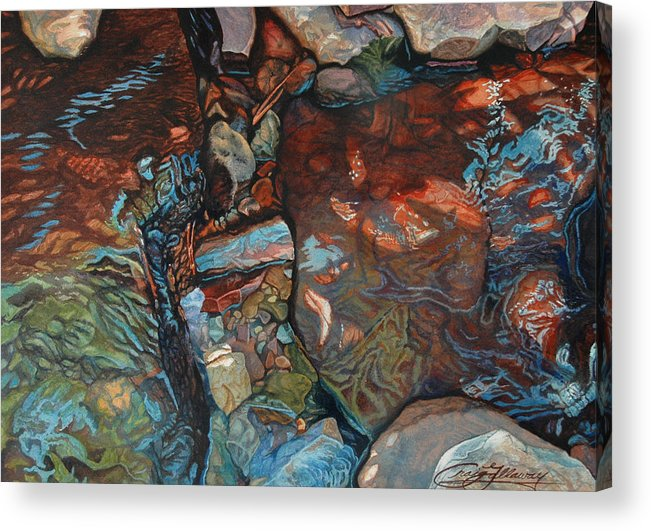 Rocks Acrylic Print featuring the painting Blue Current by Craig Gallaway