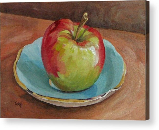 Still Life Acrylic Print featuring the painting Blue Saucer With Apple by Cheryl Pass