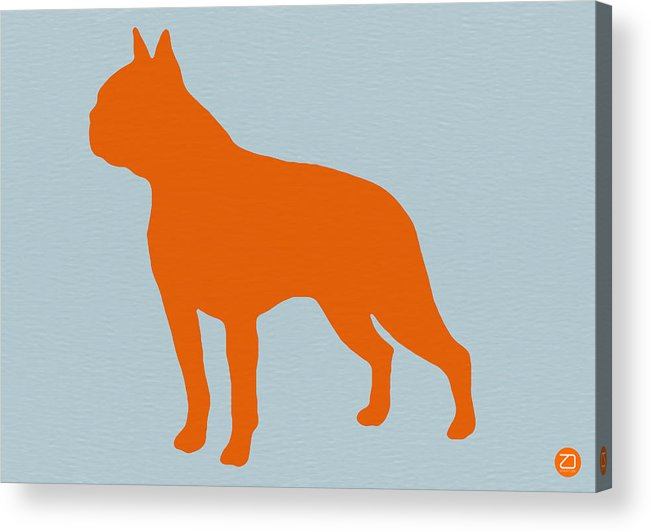 Boston Terrier Acrylic Print featuring the digital art Boston Terrier Orange by Naxart Studio