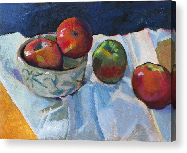 Apple Acrylic Print featuring the painting Bowl Of Apples by Robert Bissett