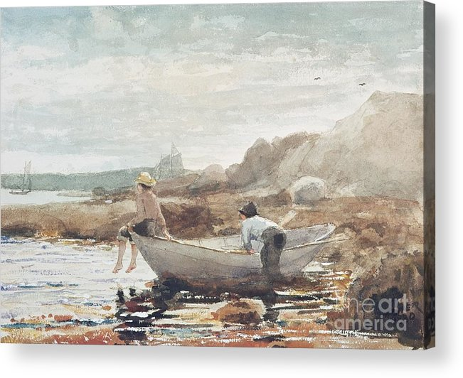 Boys On The Beach (w/c On Paper) By Winslow Homer (1836-1910) Rowing Boat; Fishing; Boy; Male; Children; Child; Playing; Summer; Coast; Coastal; Rocks; Rocky; Boat Acrylic Print featuring the painting Boys On The Beach by Winslow Homer