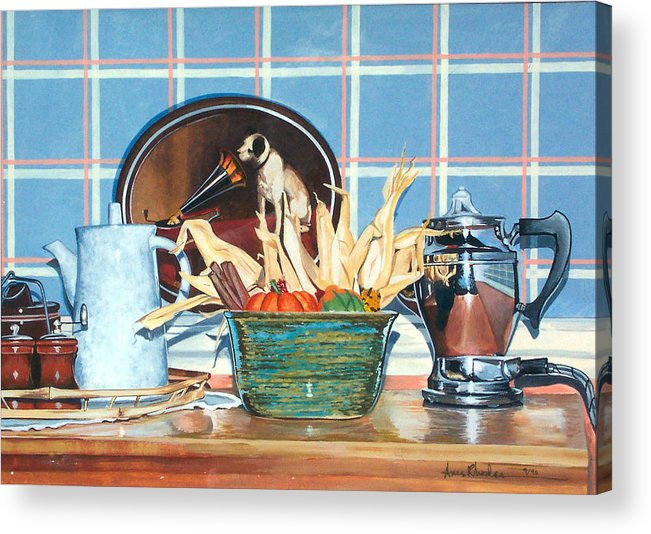 Still Life Acrylic Print featuring the painting Buffet Still Life by Anne Rhodes
