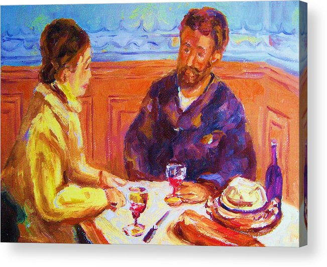 Cafes Acrylic Print featuring the painting Cafe Renoir by Carole Spandau