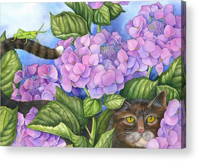 Cats Acrylic Print featuring the painting Cat In The Garden by Mindy Lighthipe