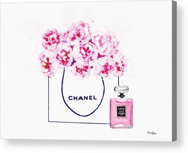 36dce4d91ba5 Chanel Poster Acrylic Print featuring the painting Chanel Bag With Pink  Peonys by Del Art