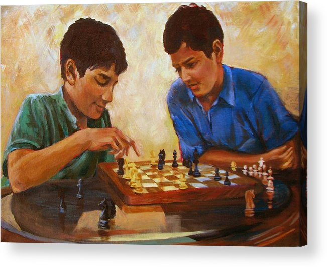 Chess Acrylic Print featuring the painting Check by Art Nomad Sandra Hansen