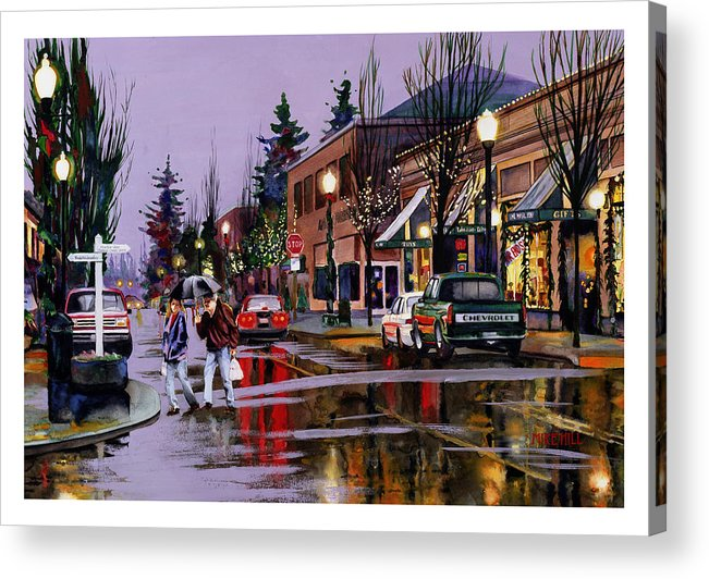 Christmas Lights Rain Holiday Eve Shopping Reflections Decorations Acrylic Print featuring the painting Christmas On Main Street by Mike Hill