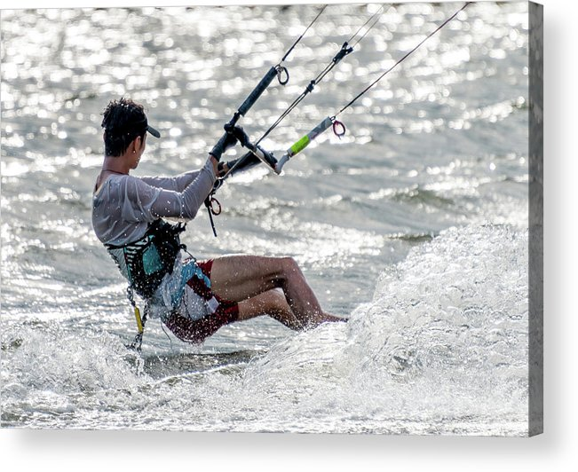 Hong Kong Acrylic Print featuring the photograph Close-up Of Male Kite Surfer In Cap by Ndp