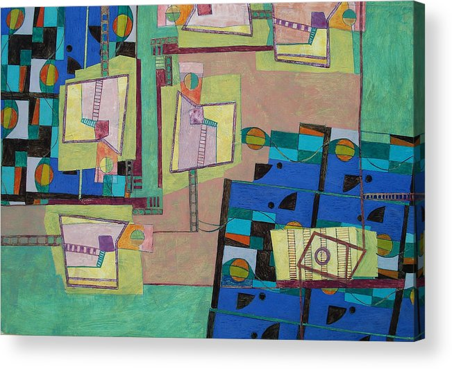 Abstract Art Acrylic Print featuring the painting Composition Xxii 07 by Maria Parmo