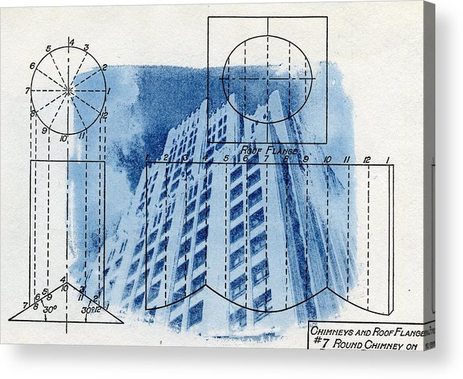 Continental life building cyanotype blueprint architecture acrylic cyanotype acrylic print featuring the photograph continental life building cyanotype blueprint architecture by jane linders malvernweather Images