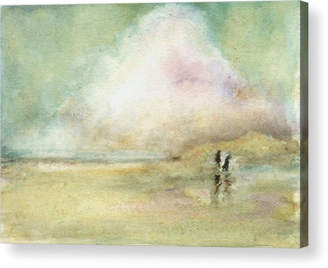 Beach Scene Acrylic Print featuring the print Corolla Beach Stroll by Donna Elio