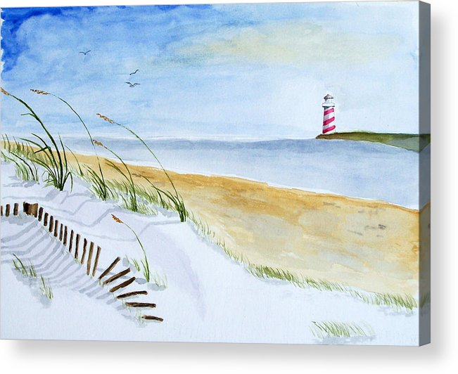 Beach Acrylic Print featuring the painting Cove With Lighthouse by Robert Thomaston