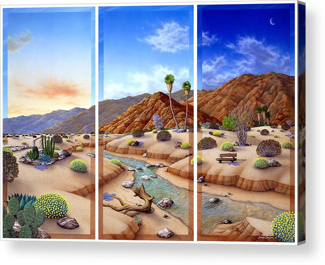 Landscape Acrylic Print featuring the painting Desert Vista by Snake Jagger