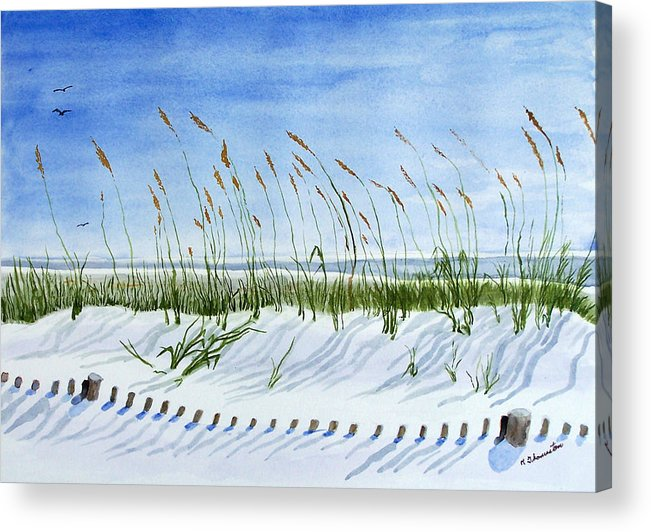 Beach Acrylic Print featuring the painting Drift Fence Almost Covered by Robert Thomaston