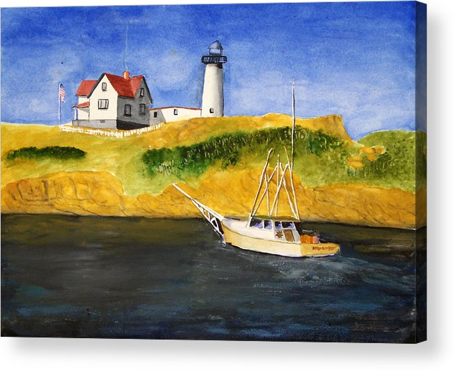 Lighthouse Acrylic Print featuring the painting East Coast Lighthouse With Crab Boat by Robert Thomaston
