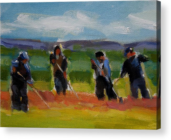 Landscape Acrylic Print featuring the painting Field Workers In Watsonville - Study by Merle Keller