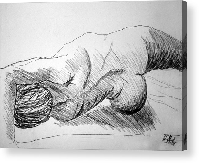 Figure Acrylic Print featuring the drawing Figure Drawing 2 by Nancy Mueller