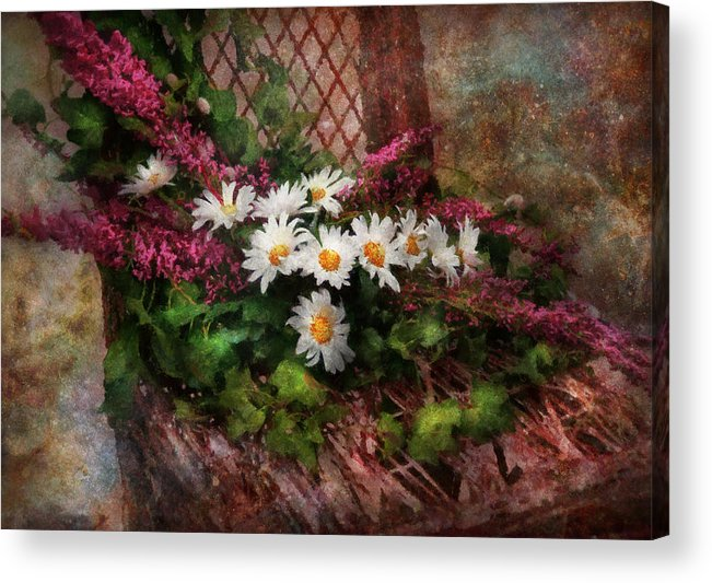 Suburbanscenes Acrylic Print featuring the digital art Flower - Still - Seat Reserved by Mike Savad