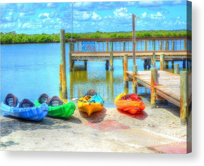 Kayaks Acrylic Print featuring the photograph Four Kayaks by Debbi Granruth