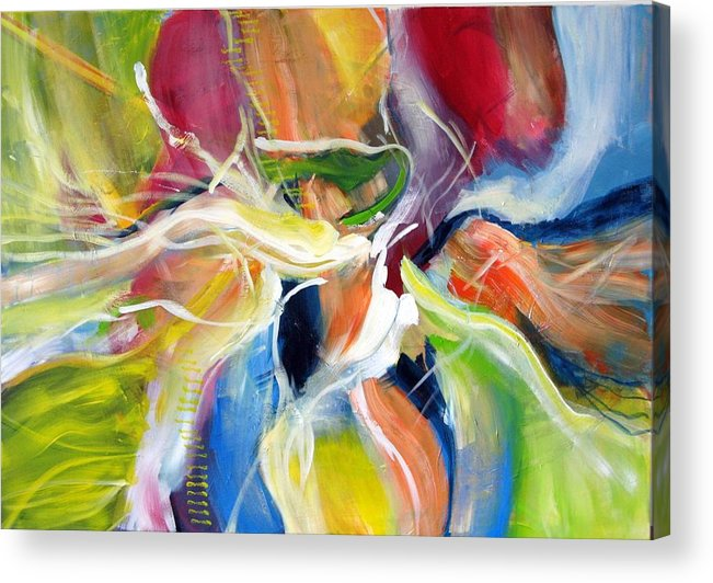 Abstract Painting Full Of Live Vibrant Colors Named: Freedom Acrylic Print featuring the painting Freedom by Dan Bunea