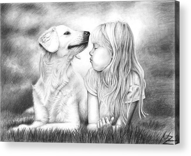 Dog Acrylic Print featuring the drawing Friends by Nicole Zeug