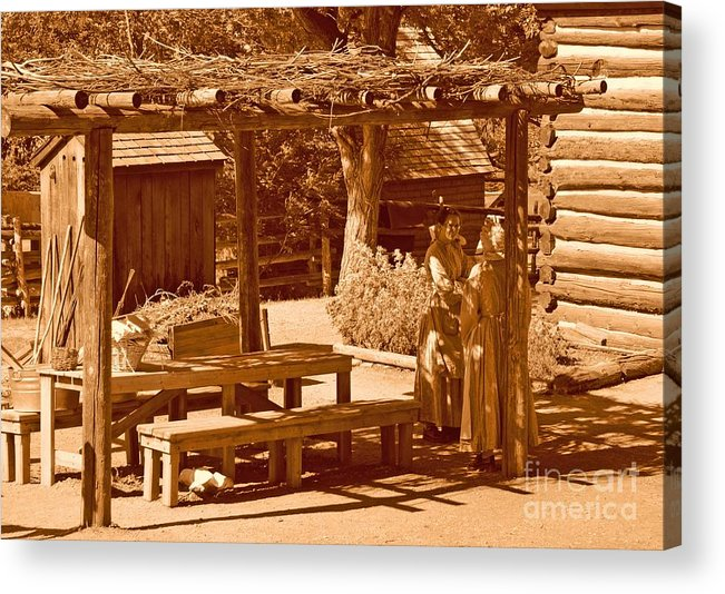 Sepia Acrylic Print featuring the photograph Gardiner Cabin - Circa 1800's by Dennis Hammer