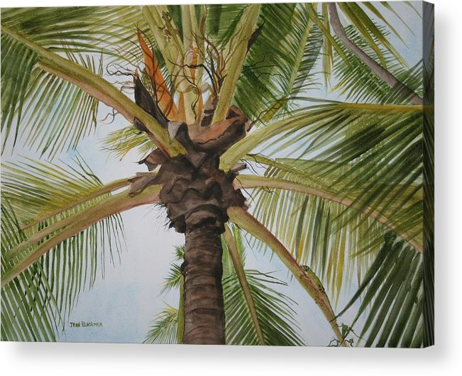 Palm Tree Acrylic Print featuring the painting Gecko Heaven by Jean Blackmer