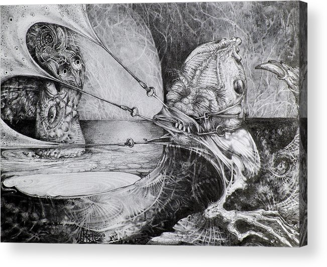 Surrealism Acrylic Print featuring the drawing General Peckerwood In Purgatory by Otto Rapp