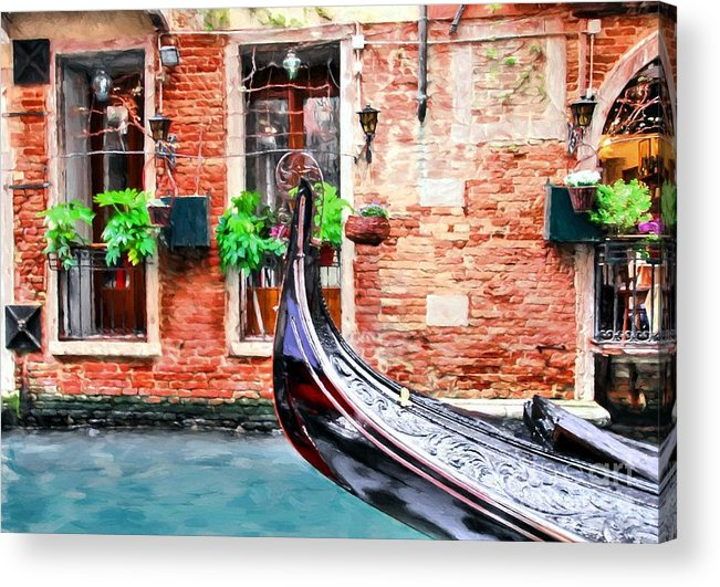Gondola In Venice Acrylic Print featuring the photograph Gondola In Venice by Mel Steinhauer