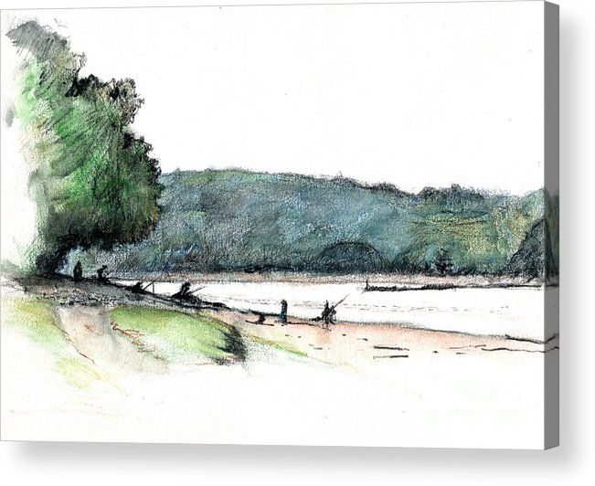 Fishing Acrylic Print featuring the drawing Gone Fishing by Andy Mercer