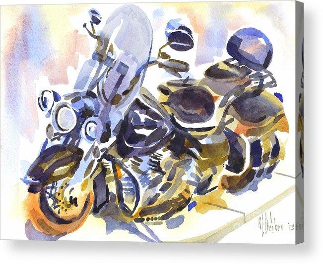 Motorcycle In Watercolor Acrylic Print featuring the painting Motorcycle In Watercolor by Kip DeVore