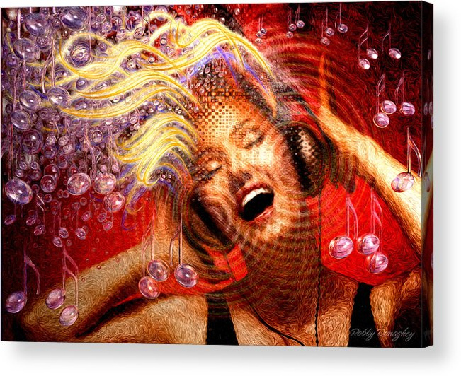 Music Acrylic Print featuring the painting Headphones by Robby Donaghey