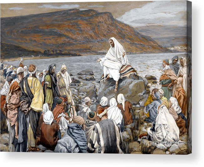 Tissot Acrylic Print featuring the painting Jesus Preaching by Tissot