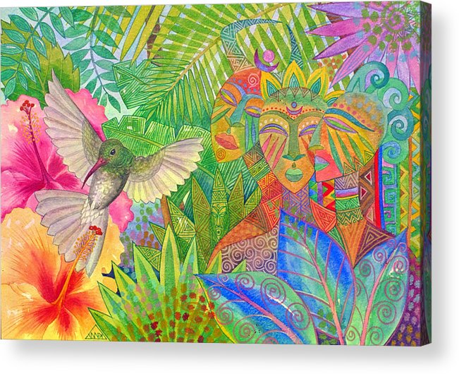 Tropical Exotic Jungle Wild Life Bird Spirit Masks Acrylic Print featuring the painting Jungle Spirits And Humming Bird by Jennifer Baird
