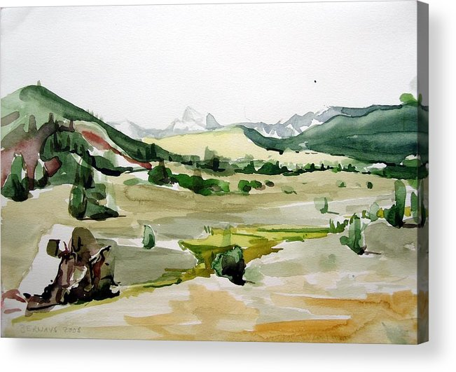 Landscapes High Desert Wildlife Nature River Blue Mountains Outdoors Airy Watery Acrylic Print featuring the painting Kennedy Meadows The Dome Lands by Amy Bernays